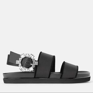 Zara Satin Strappy Flat Sandals w/ Crystal Brooch